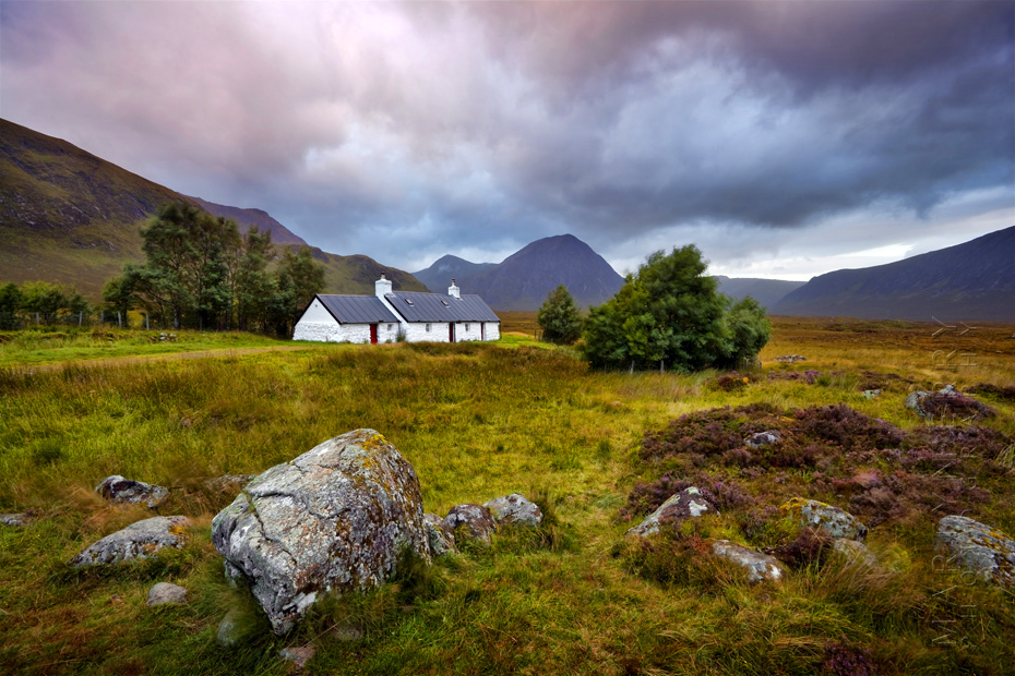 Sunrise photograph of Black Rock cottage with beautiful clouds