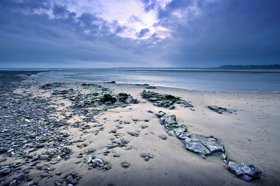 Evening shot of coastal scene at Ogmore by Sea in Wales