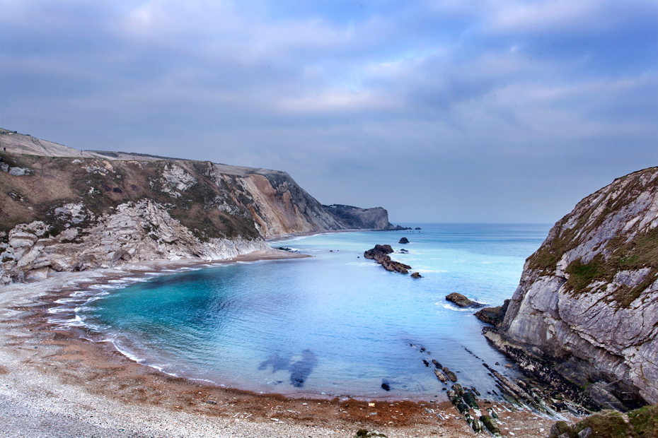 Blue waters at Man O'War Bay in Dorset