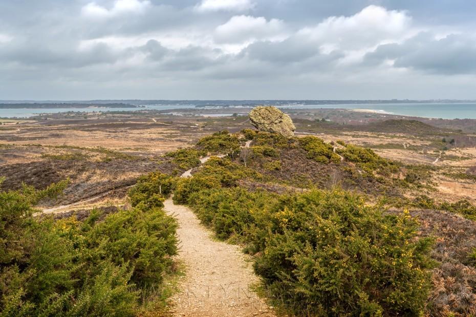Path towards Agglestone with Studland Bay beyond