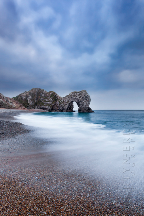 Stormy sky over Durdle Door in Dorset
