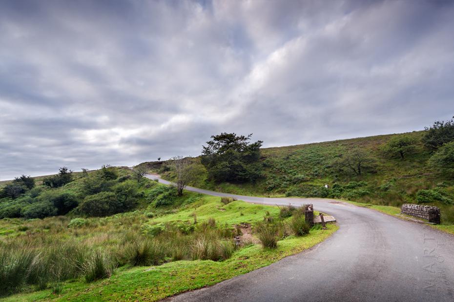 Winding lane through Exmoor moorland under clouds