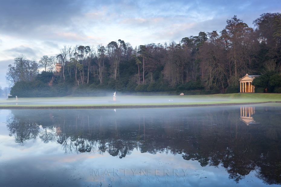 Mist over the lake at Studley Royal Water Garden