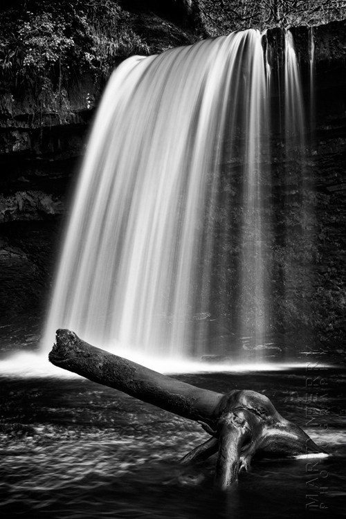 Striking image of Lady Falls in black and white