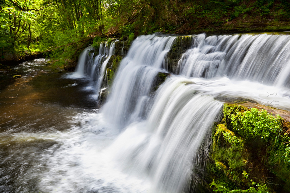 Waterfall in a stunning setting in the Brecon Beacons National Park