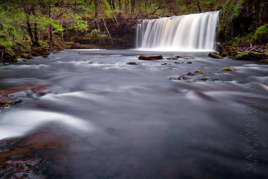 Spring image of Upper Gushing Falls in Wales