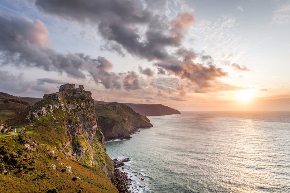 Valley of Rocks at sunset at Lynton in Exmoor National Park