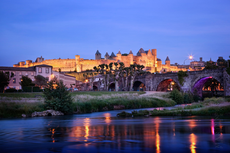 Beautiful view of Carcassonne at night