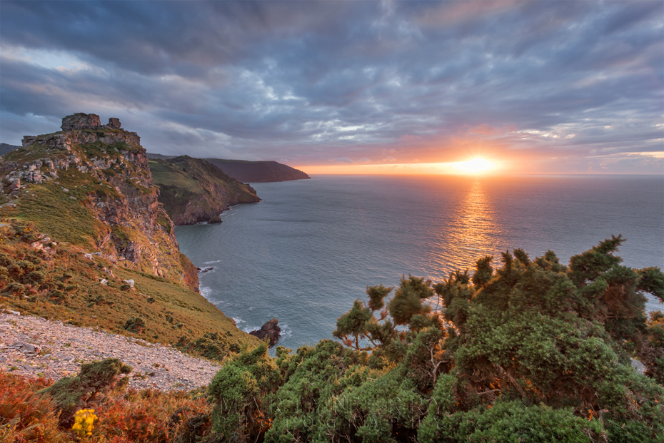 Beautiful sunset at the Valley of Rocks in Exmoor