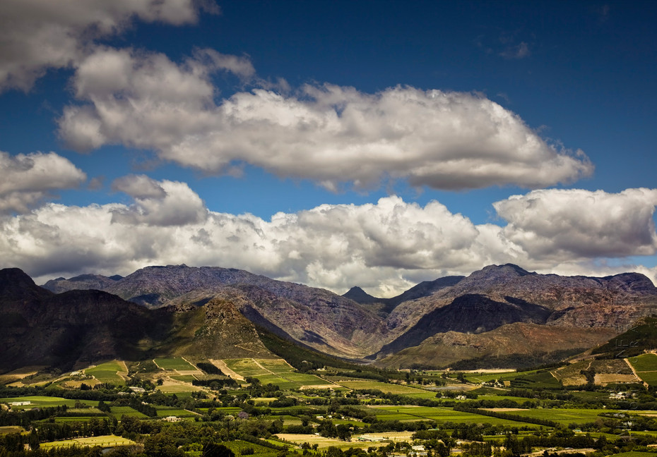 View over the winelands from Franschhoek Pass