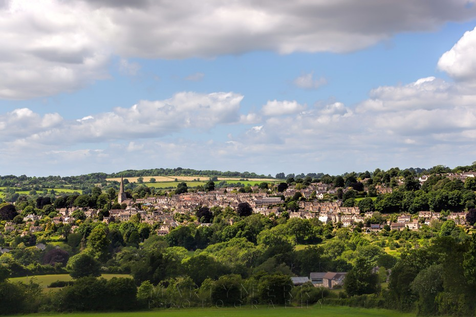 Looking over the Cotswold town of Painswick from a distance