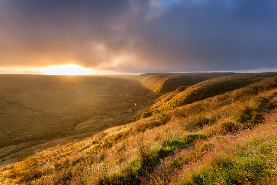 Warm landscape at sunrise in the Exe Valley in Exmoor