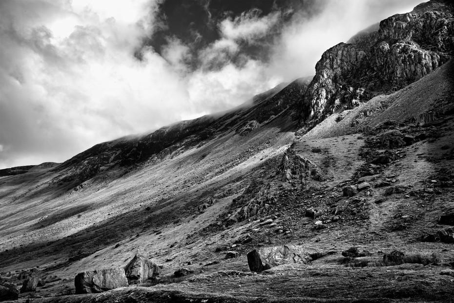 Dramatic black and white landscape