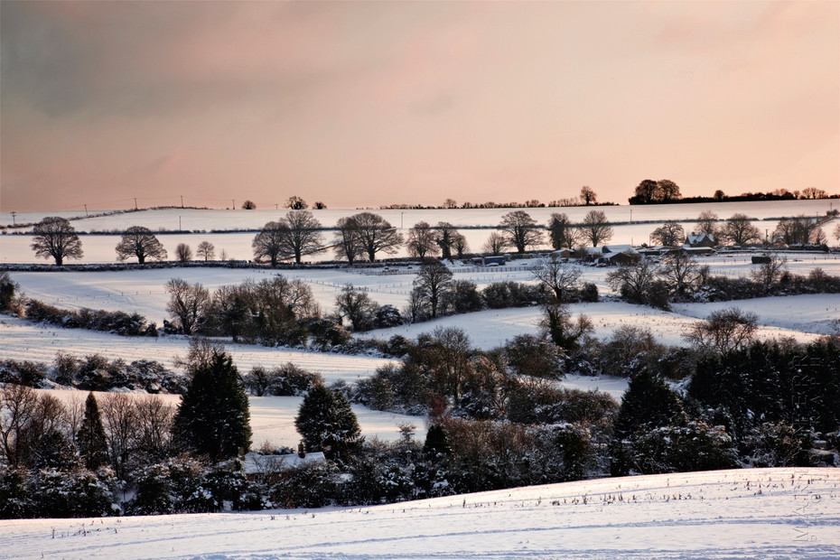 Photograph of pink skies over snow covered fields in the Cotswolds
