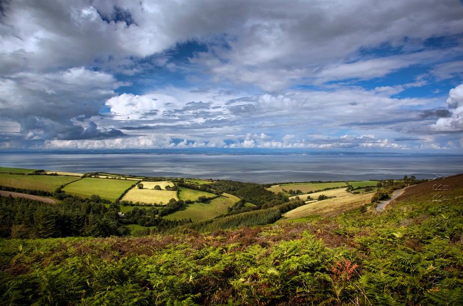 Beautiful summers view of Exmoor park and ocean