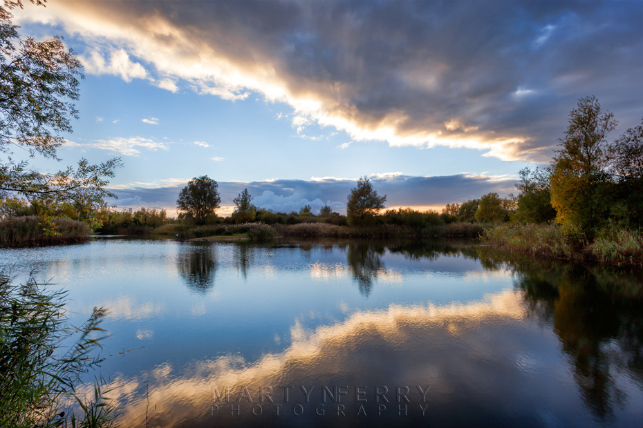Ouse Fen Nature Reserve sunset reflection