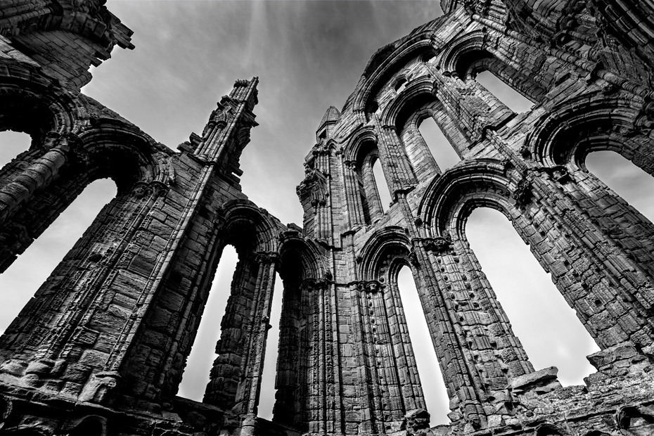 Whitby Abbey interior photograph in dramatic black and white