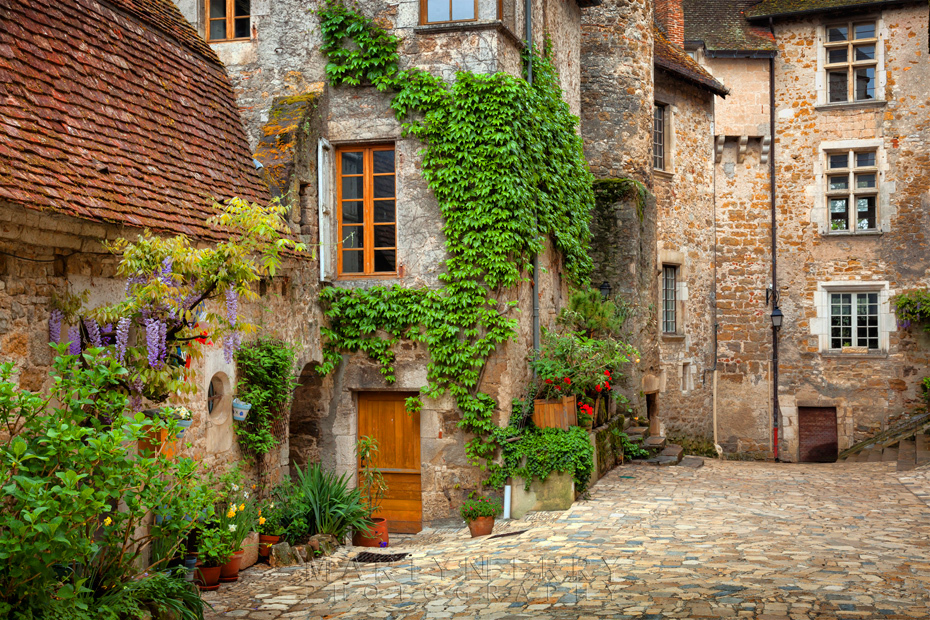 Lovely image in quaint French village square in Carennac