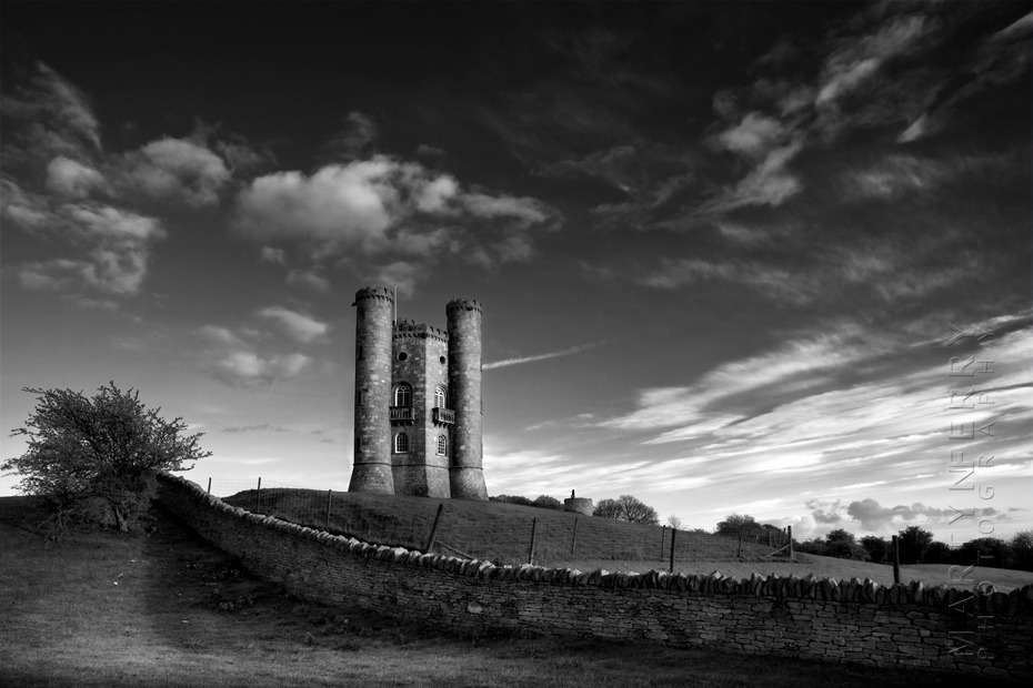 Stunning photograph of Broadway Tower in black and white