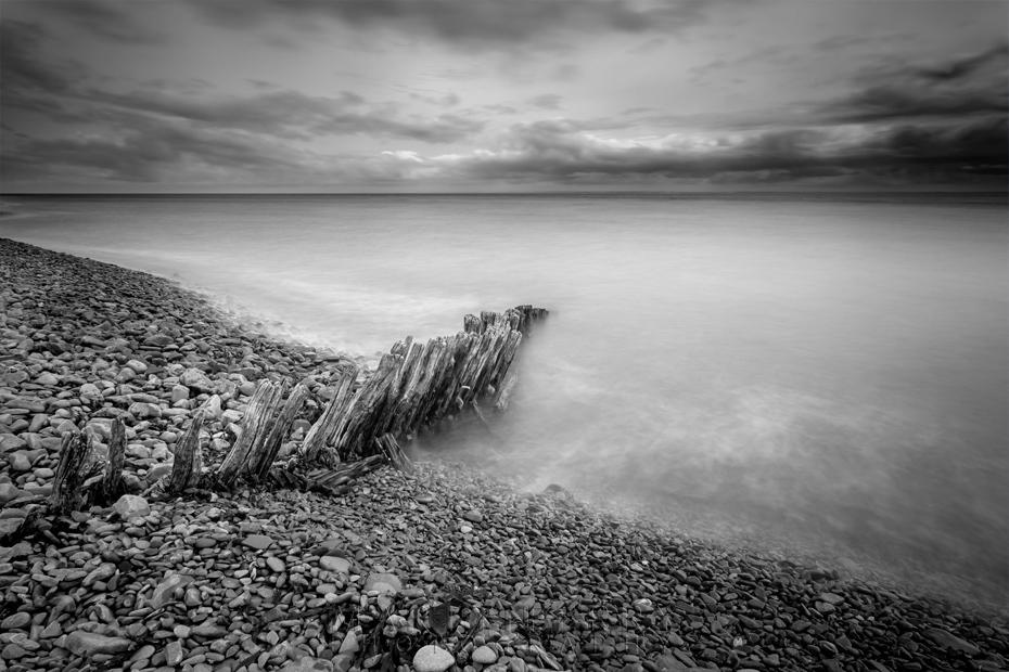 Beach Groynes in black & white at Porlock Weir