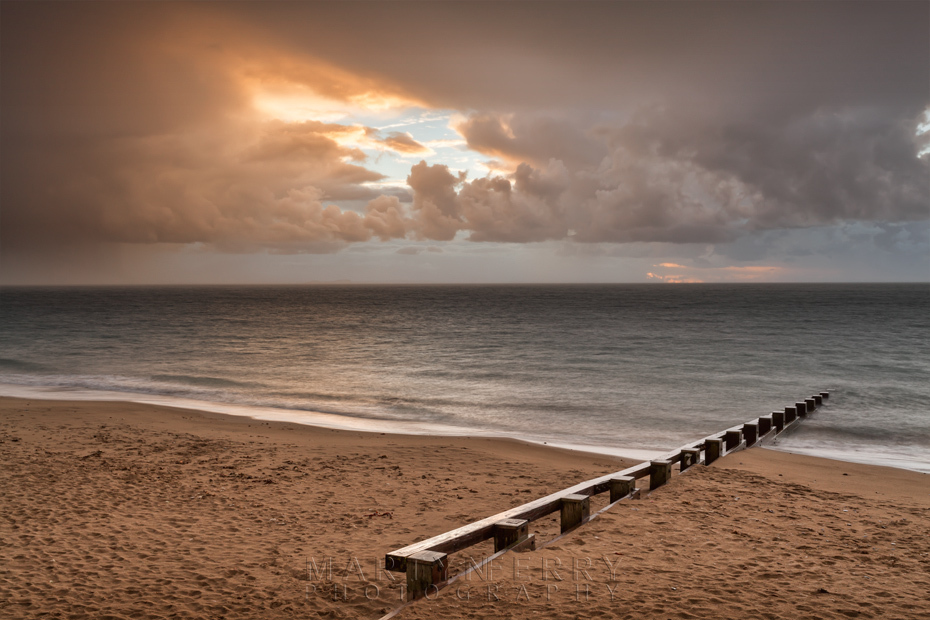 Stormy sunrise over Swanage beach