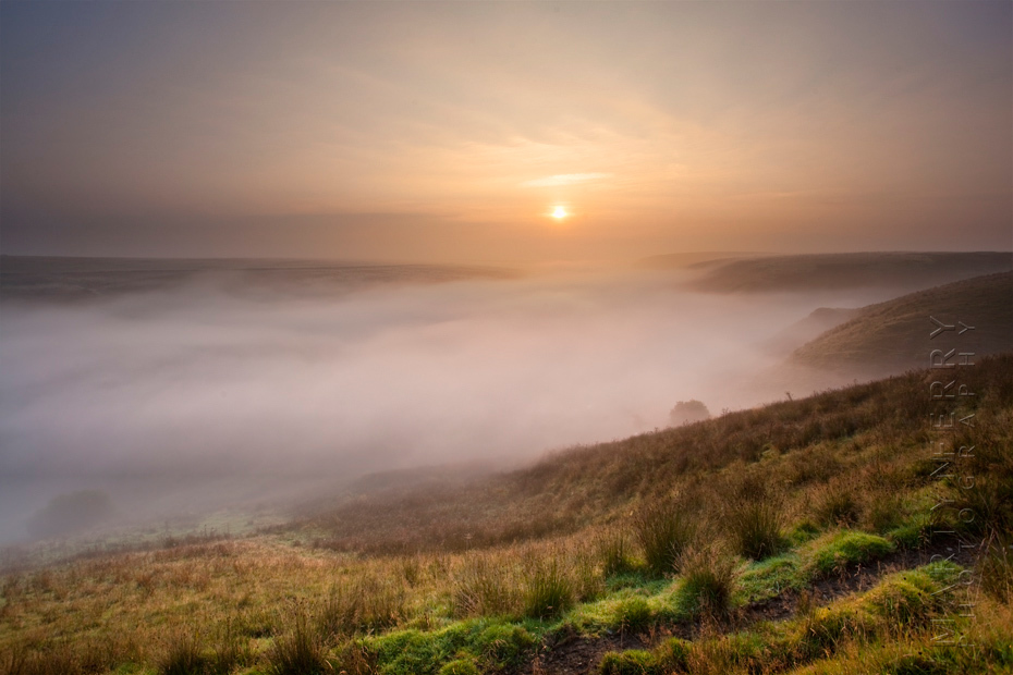 Sunrise mist over the beautiful Exe Valley