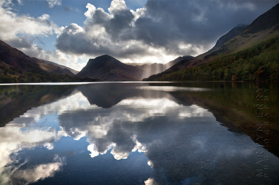 Beautiful landscape view of Buttermere and clouds