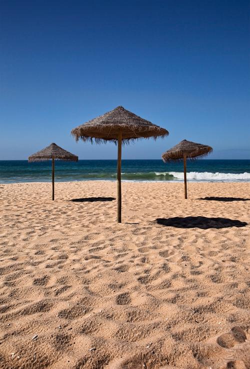 Beautiful beach image with straw umbrellas