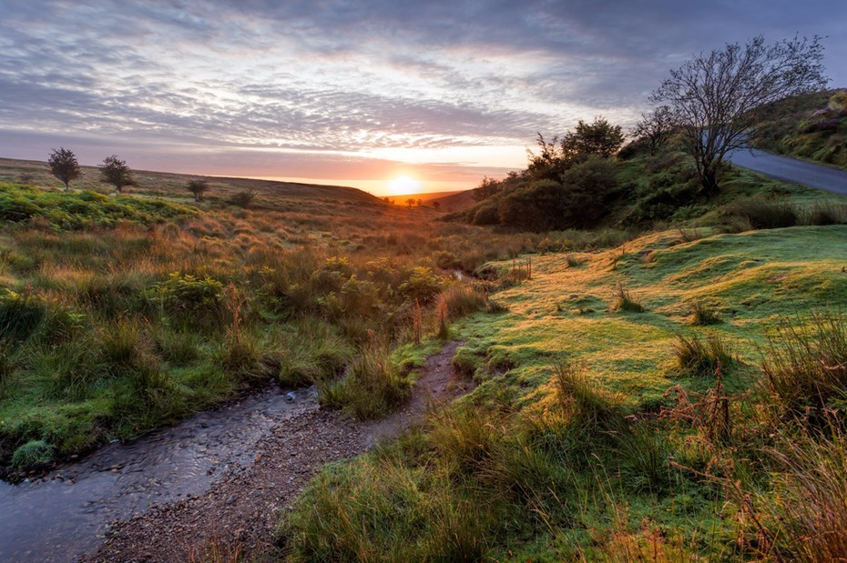 Rising sun over Exmoor National Park
