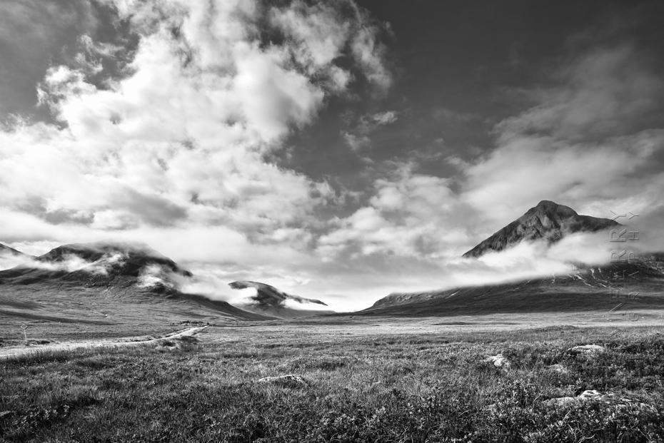 Beautiful view into Etive Mor in black and white