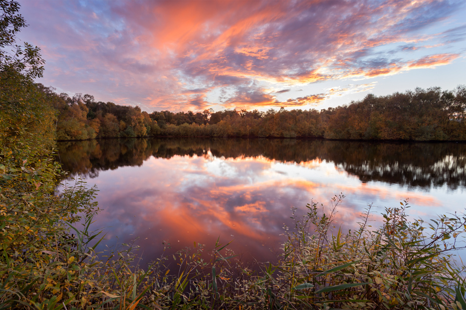 Sunset at Holme Fen with cloud reflections