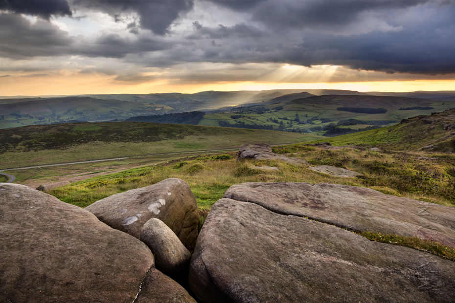 Photograph of Stanage Edge rocks at sunset