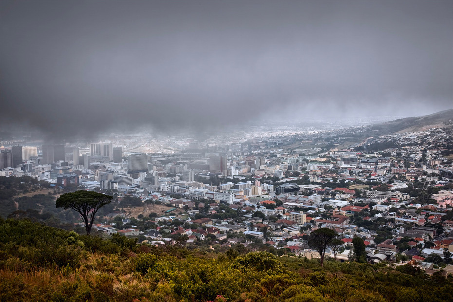 Cape Town in mist from Signal Hill