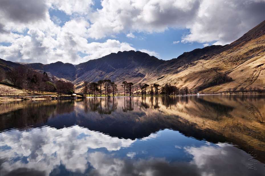 Stunning landscape of Buttermere in reflection