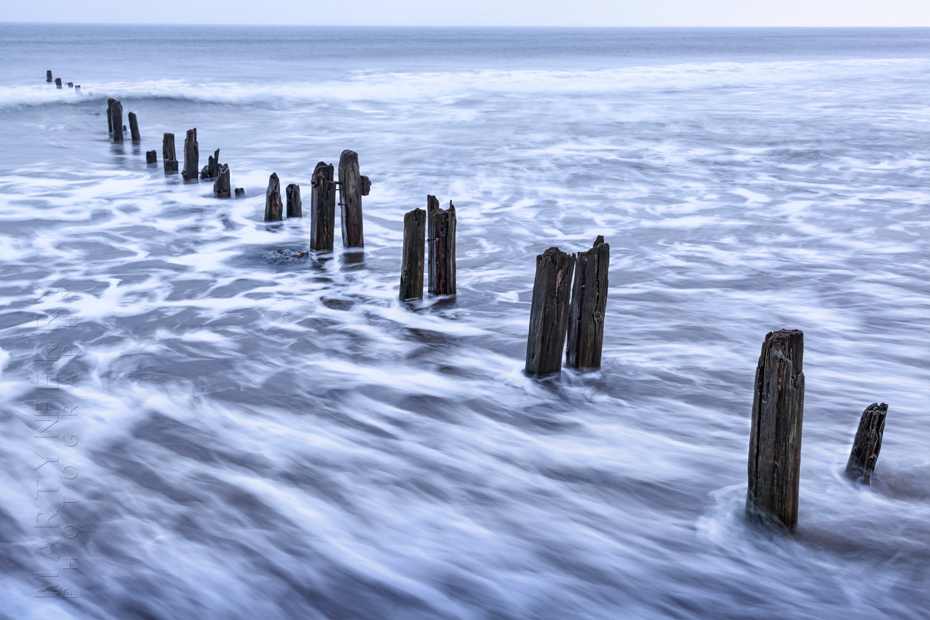 Fast moving tide at Sandsend near Whitby North Yorkshire