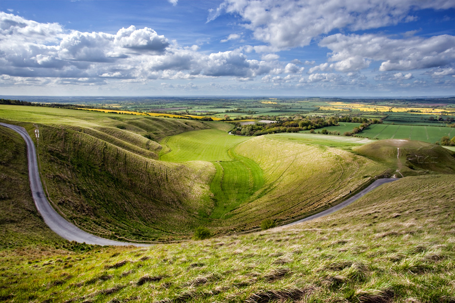 Beautiful landscape of the White Horse in Oxfordshire