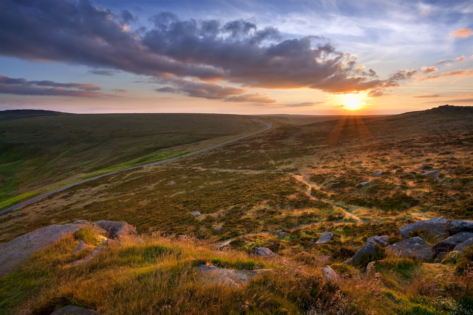 Sunrise and clouds at Higger Tor in the Peak District