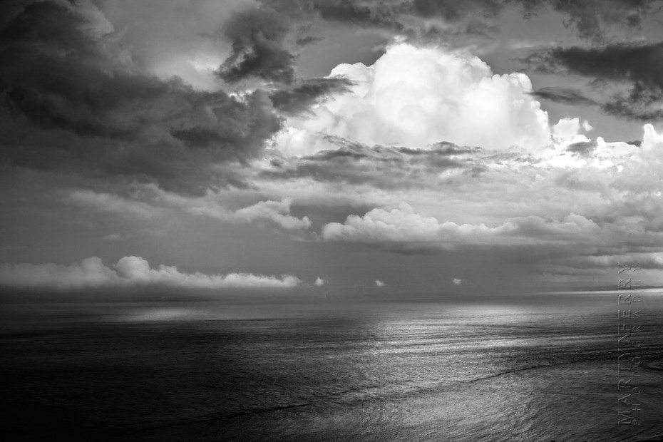 Beautiful black and white image of ocean clouds