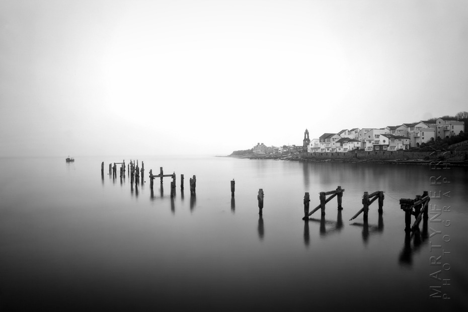 Beautiful black and white photo of Swanage old pier