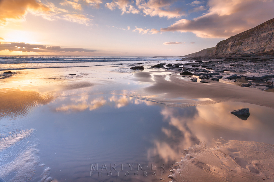 Dunraven Bay reflection at sunset