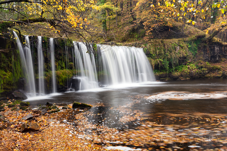 Autumn leaves swirl in the water under Upper Gushing Falls in Wales