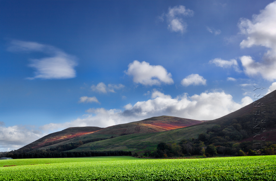 Sunshine on the Cheviot Hills in Northumberland