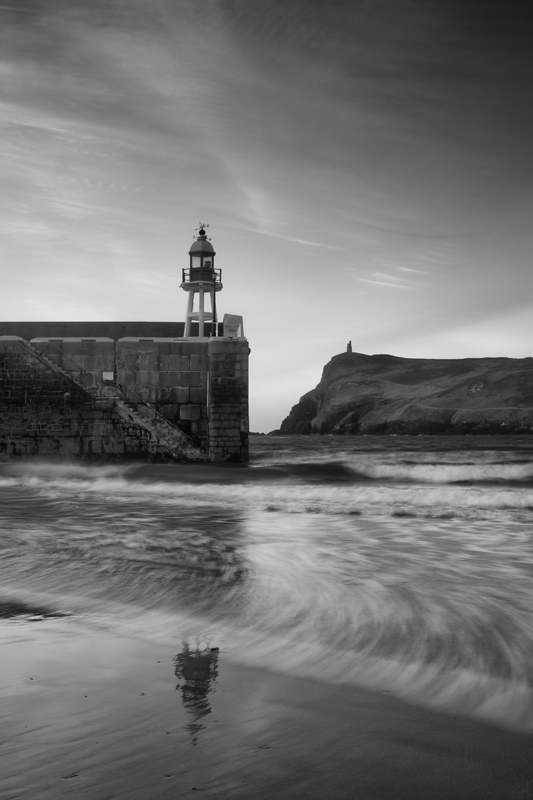 Port Erin Breakwater - Mann in Mono