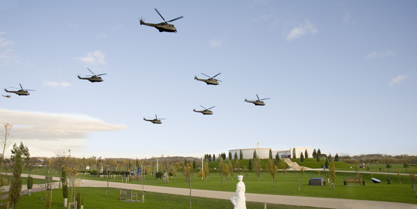 Puma helicopters en route to new base in Oxfordshire - National Memorial Arboretum, Staffordshire, England