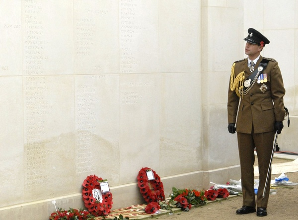 Prince Edward Earl of Wessex views the names on the Armed Forces Memor - National Memorial Arboretum, Staffordshire, England