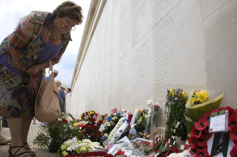 Viewing floral tributes - National Memorial Arboretum, Staffordshire, England