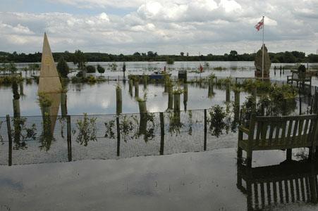 July 2007 floods - National Memorial Arboretum, Staffordshire, England