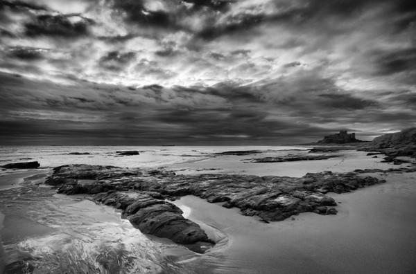 Bamburgh Storm - Black and White