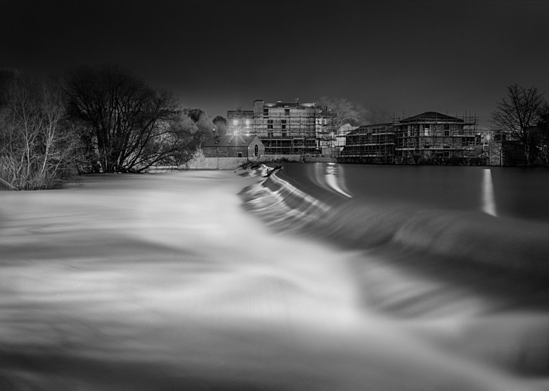 River Wharfe and Weir, Otley - Otley and Ilkley at Night