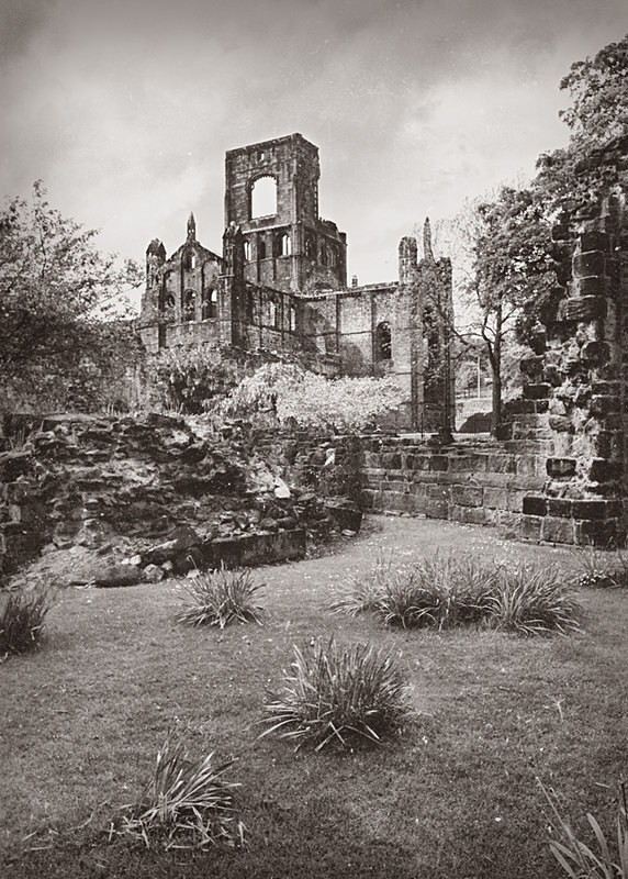 Kirkstall Abbey Circa 1980 in Black and White - Architecture